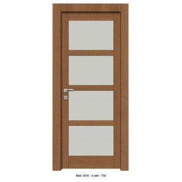 Porta Listellare rivestita in Laminato con Pannelli Bugnati Modello 5018B - 4 Vetri