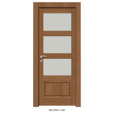 Porta Listellare rivestita in Laminato con Pannelli Bugnati Modello 5019B - 3 Vetri