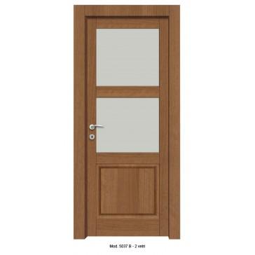 Porta Listellare rivestita in Laminato con Pannelli Bugnati Modello 5037B - 2 Vetri