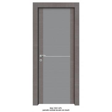 Porta Listellare rivestita in Laminato Modello 5501 HIPL - Pannello Centrale Laccato con Inserti