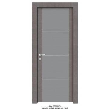 Porta Listellare rivestita in Laminato Modello 5503 HIPL - Pannello Centrale Laccato con Inserti