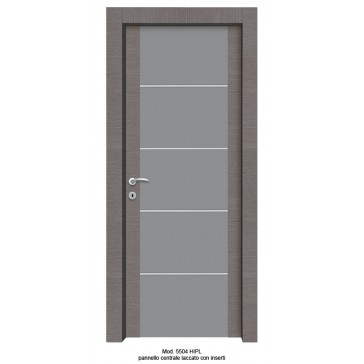 Porta Listellare rivestita in Laminato Modello 5504 HIPL - Pannello Centrale Laccato con Inserti