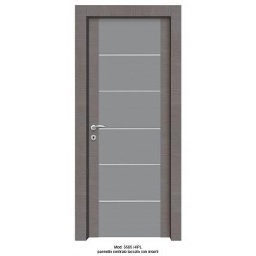 Porta Listellare rivestita in Laminato Modello 5505 HIPL -  Pannello Centrale Laccato con inserti