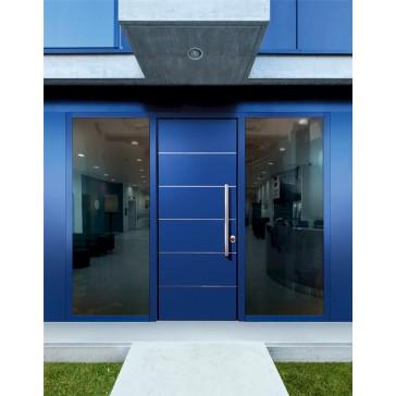 Porta Blindata Bauxt Monolite con Struttura a doppio Fiancoluce vetrato e con Finiture pannelli in Laccato