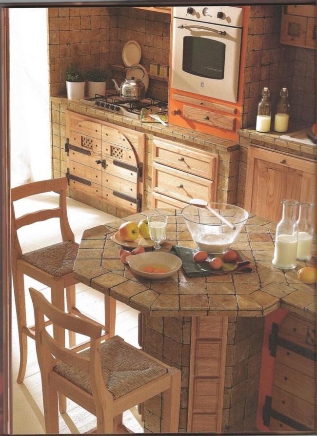 Cucina su misura rustica in vero legno tinto