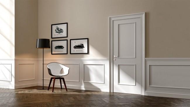 Boiserie su misura in legno stile classico con cornici in - Cornici per camere da letto ...