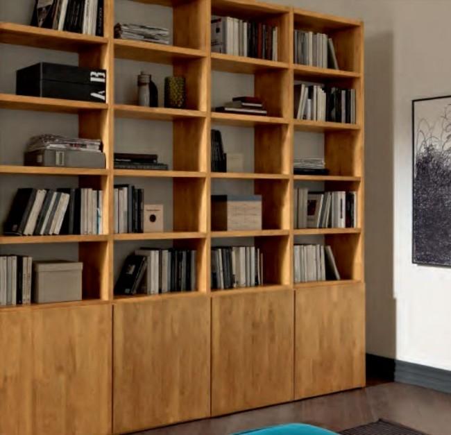 Libreria i Minimal in Legno Massello, Dallo Stile Moderno.