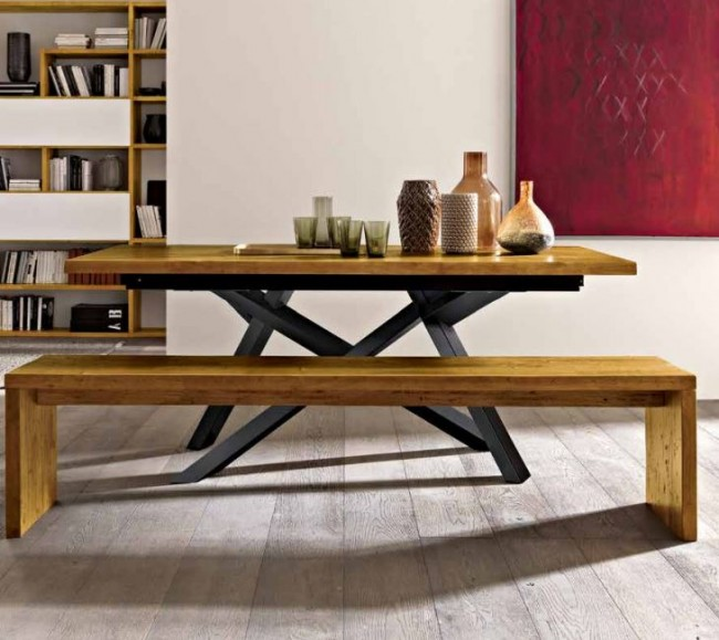 Tavolo moderno in legno massello con struttura in alluminio - Tavolo con panca ad angolo moderno ...