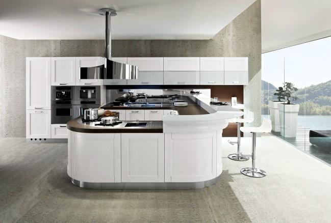 cucina moderna con penisola centrale in vendita a roma