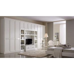 armadio libreria laccato bianco