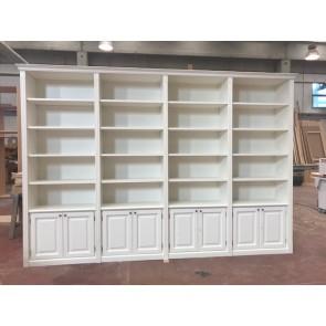 Libreria in vero legno, laccata bianca, stile classico
